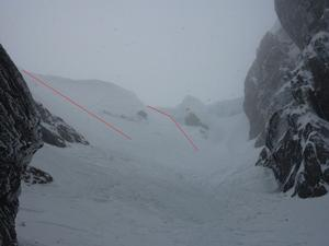 Number 3 Gully, Ben Nevis: Looking up to the cornice in Number 3.  The easiest slide in the left hand line (skiers right).  The other line may be possible if the left hand line is scoured. Photo: Scott Muir