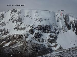 The Ramp, Ben Macdui: Stob Coire Sputan Dearg: 'The Ramp', in relation to the summit of Stob Coire Sputan Dearg Photo: Scott Muir