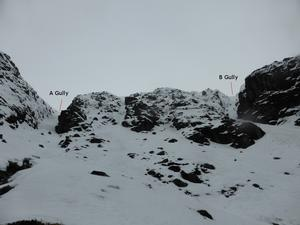 A Gully, Corrie Fee, Mayar: Below A Gully and B Gully Photo: Scott Muir