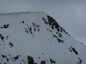 Northeast Face, Sgor an Lochain Uaine: Zoomed in from the north ridge of Cairn Toul. Photo: Scott Muir