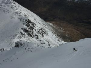 Summit Gully, Aonach Mor: A spectacular position for skiing. Photo: Scott Muir