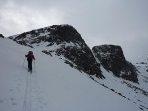 Castlegates Gully, Loch Avon Basin: Heading for Loch Etchachan, with Castlegates Gully behind. Photo: Scott Muir