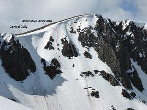 Central Gully, and an alternative that was skied in April 2014 Photo: Scott Muir