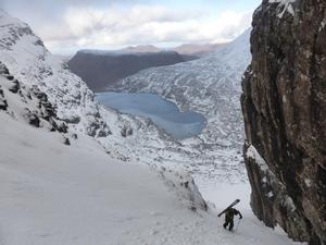 Fuselage Gully, Beinn Eighe: Ascending Fuselage Gully, below the bend. Photo: Scott Muir