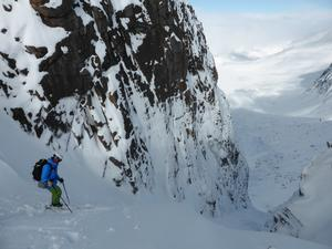 Castlegates Gully, Loch Avon Basin: About to set off on a fantastic powder descent. Photo: Scott Muir