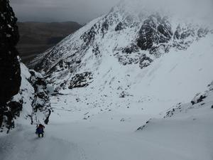 The Great Stone Shoot, Coire Lagan, Skye: Climbing into the gully Photo: Scott Muir