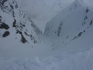 South Gully, Stob Ban: Looking down South Gully. Photo: Scott Muir